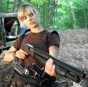 Mena Suvari with full armement